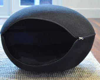 Pet Bed Pod Felt Black