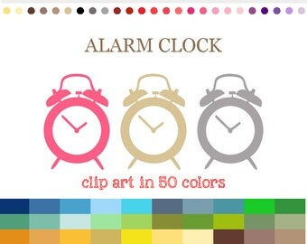 50 Colors Digital ALARM CLOCK Clipart Clocks clip art Digital Alarm Clock icon Clock graphics Clock Icon Planner Clipart Supplies #C048