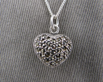 Sterling silver and marcasite heart