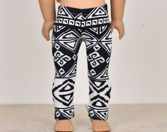 Leggings for 18 inch dolls Doll clothing American made doll clothes Aztec Black and White
