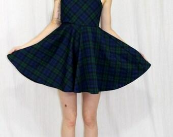 Vintage 70s Blue Green PLAID School Girl FULL Skirt Mini Retro Boho Sun Dress XS
