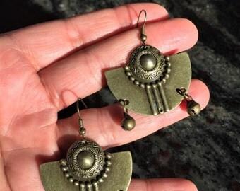 Aztec earrings, Bohemian earrings, Ethnic earrings, Boho earrings, Tribal earrings, Bronze dangle earrings