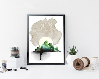 Mountain and constellation art print, wall art, watercolor print, home wall decor, constellation art, poster, modern apartment decor, gift