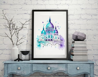 Sacre-coeur Paris,  Watercolor painting, Original Illustration, Travel art Print, Architecture, Wall art, City art, Christmas Holiday Gift.