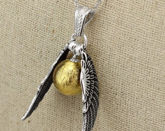 SS040- Silver Quidditch-inspired large winged golden ball necklace