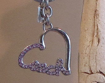 Valentine Coach Heart Shaped Key Chain With Metallic Hang Tag And Colored Stones- EUC