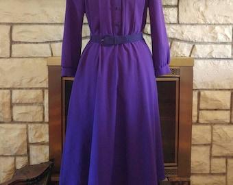1980s Purple Shirt Dress Size M