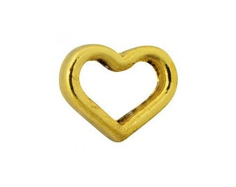 Gold Heart Floating Charms