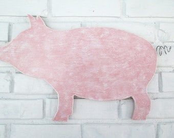 Superieur Rustic Pink Pig Sign Wall Decor Wood Pig Country Farm Kitchen Folk Art #5500