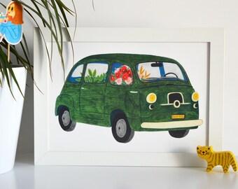A4 poster - Combi retro flowers