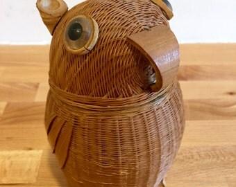 Cute Vintage Owl Shanghai Basket Box | Animal Basket Box | Shanghai Handicraft