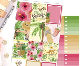 Hello Summer Weekly Kit Planner Stickers for use in Erin Condren Vertical