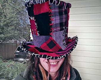 mad hatter hat, Magician, Queen of hearts, costume hat, ringleader, black, red, patchwork, top hat