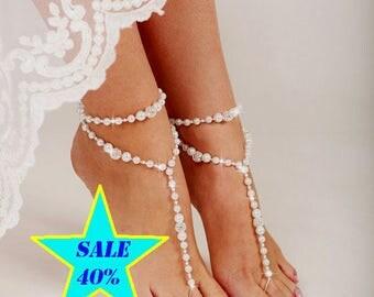 Beaded Barefoot Sandals, Barefoot sandals, Beach wedding Barefoot Sandal, Pearl Barefoot shoes, Bridal Barefoot Sandals, footless sandal