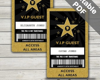 Hollywood Party VIP Pass (Hollywood VIP badge). Editable PDFs. Instant Download.