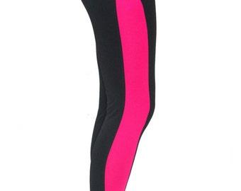 Black Pink elegant Yoga Leggings Yoga Clothes by SheActive on Etsy