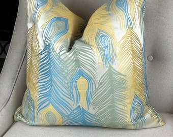 Yellow Blue Decorative Pillow Cover,  Green Sofa Pillows, Decorative Pillows, Cushion Cover, Home Living, Throw Pillows 0038