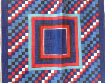 Kreier 100% Cotton Handkerchief - Geometric Design in Red, White and Blue - New and Unused From Vintage 1970 Stock