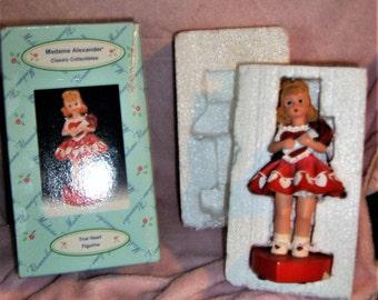"rare-MADAME ALEXANDER TRUE heart 5"" musical figurine-plays""love me tender""new in the box-"