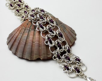 Silver Plated Chainmaille Bracelet, Purple Bracelet, Silver Bracelet, Byzantine Bracelet, Chain Mail Bracelet