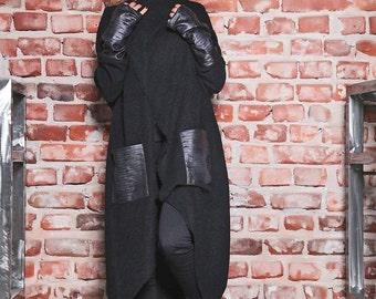 Long Sweater Coat/ Leather Jacket/ Womens Cardigan Coat/ Winter Cardigan/ Wrap Jacket/ Eco Leather Coat/ Knit Cardigan/ Boho Knit Cardigan