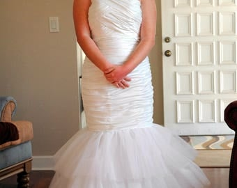 Satin Taffeta Mermaid style Wedding Gown.