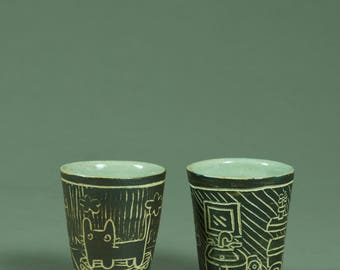 incised cups