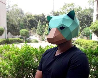 DIY Papercrafts,Bear Mask,Party mask,Halloween mask,Party costume,Paper mask,Printable mask,Mama Bear,Papa Bear,Origami mask,Cut and fold,3d