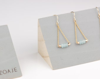 PANAMA Earrings, natural light blue Agates and 14k gold filled