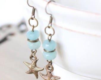 Amazonite Starfish Earrings - Bronze Earrings, Bronze Jewelry, Beachy Jewelry, Gemstone Earrings, Aqua Earrings, Blue Earrings, Boho Chic