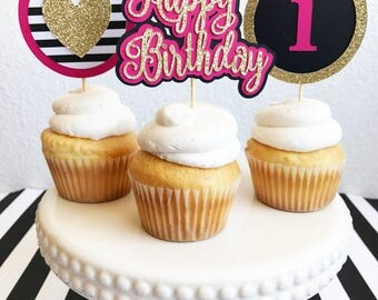 Birthday Cupcake Toppers | Cupcake Toppers |  Party Cupcake Toppers | Pink, gold, Black, Striped Cupcake Toppers | Party Decor | Cake