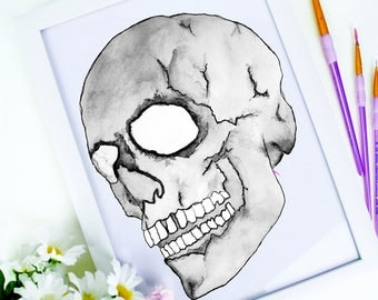 Skull Watercolour & Ink | Art | Print