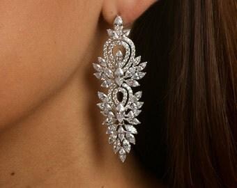 Long wedding earrings  Bridal earrings Сhandelier earring Wedding jewelry Vintage style earrings  Rhinestone earring Bridal jewelry