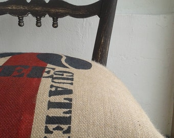 Vintage Chair recovered with bags of coffee