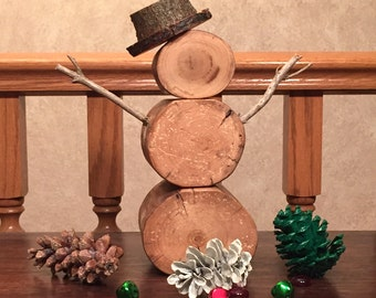 Barkless Tabletop Natural Wood Snowman