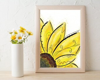 Sunflower Print Download, Yellow Flower Art Print, Sunflower Art Gift, Yellow Flower Wall Art, Sunflower Art Prints, Sunflower Wall Art