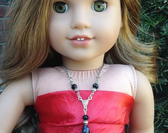 """Victorian inspired antique silver and black crystal necklace; Holiday jewelry for American Girl & 18"""" dolls; stocking stuffer;gifts under 10"""