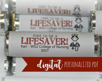 Nursing School Favors, Lifesaver Mint Wrapper, Personalized Candy Label, Nurse Gift, Printable Mint Label