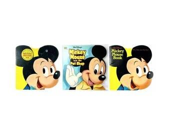 Disney Mickey Mouse Golden Shape Book Lot of 3 Vintage