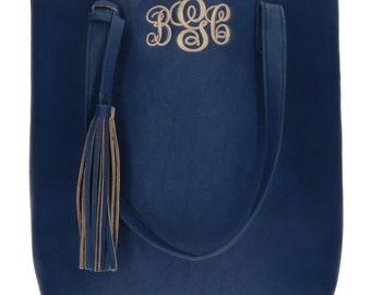 Monogram Tassel Tote -Navy - Shoulder Bag
