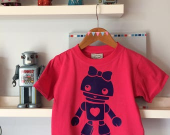 Bow and Heart Dark purple Robot on a pink Tee
