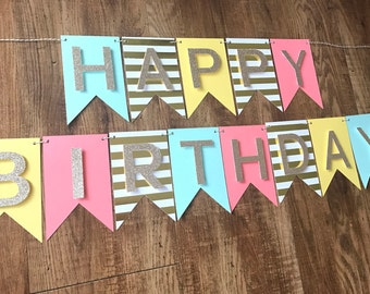 Birthday Banner   Happy Birthday Party Decorations  Pink, Yellow, Mint, Gold
