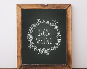 Digital Download Hello Spring Printable 5x7 and 8x10