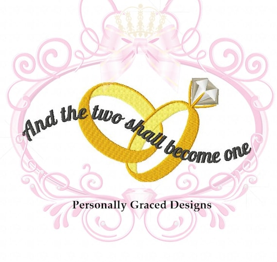 and the two shall become one crossed wedding rings machine embroidery design instant download