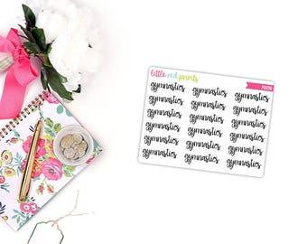 QUARTER SHEET - Gymnastics Script Planner Stickers for the Erin Condren Life Planner, Script Sticker, Script Planner Sticker - [P0276]