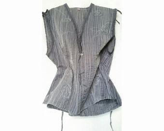 Women Gray Boho Top Linen V-Neck Vest Bohemian Clothing
