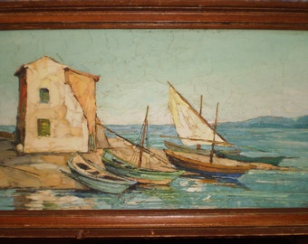 MAURICE BARLE oil on board painting seascape Paris France   Free shipping!