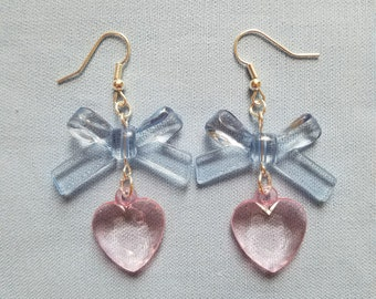 Sweet Lolita Cotton Candy Pink and Blue Faceted Heart and Bow Earrings - Mahou Shoujo Fashion - Fairy Kei Accessories - Pastel Jewelry