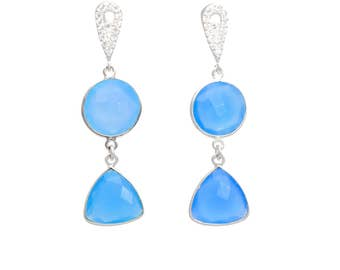 Chalcedony earrings, sterling silver, aqua blue chalcedony, chalcedony jewelry, gemstone earrings, blue earrings, gift for her, birthstone