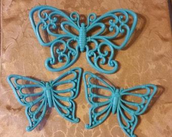 Vintage Aqua Buterflies; Aqua Butterflies; Set of 3 Aqua Butterflies